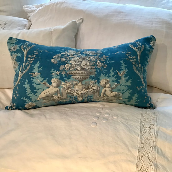 Sold 19th Century Printed French Fabric Pillow Cherubs