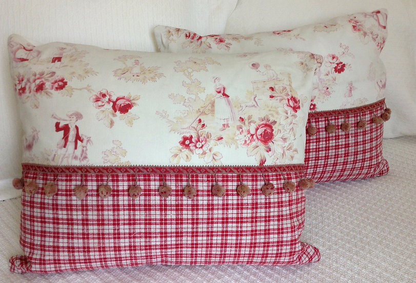 Pair of 19 Century Antique French Toile Pillows With Pom-Pom