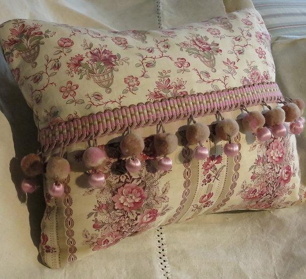 French Textile Pillow Timeworn Charm!