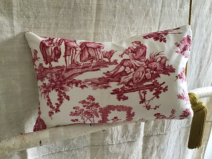 """French Toile de Jouy Fabric Pillow  """"The Delights of the Four Seasons"""""""