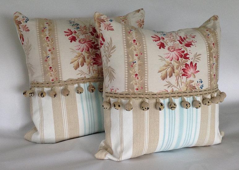 Pair Antique French Floral & Linen Pillows