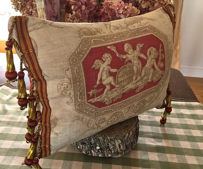 19th Century French Toile & Silk Textile Pillow