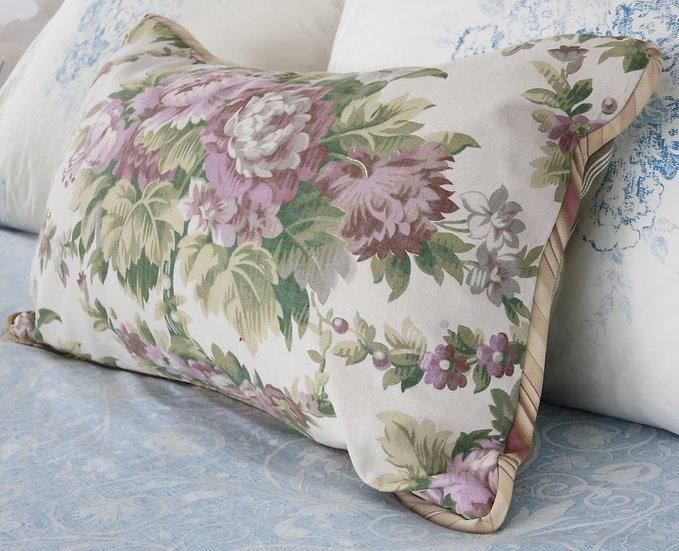 French Lavender Floral and ticking Pillows 19th century Charm!
