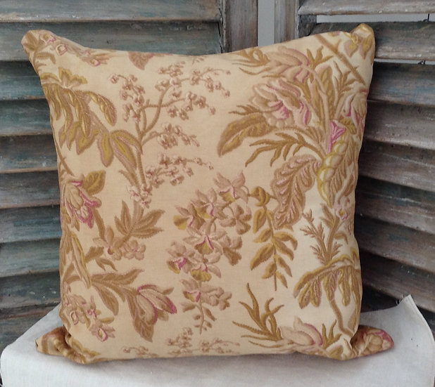 19th Century French Floral and Damask Accent Pillow