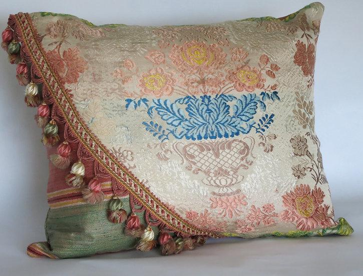 18th Century French Silk Textile Pillow