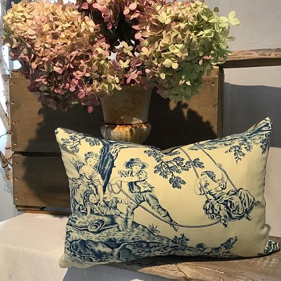 "French Toile de Jouy Fabric Pillow "" L'Escarpolette"" The swing"