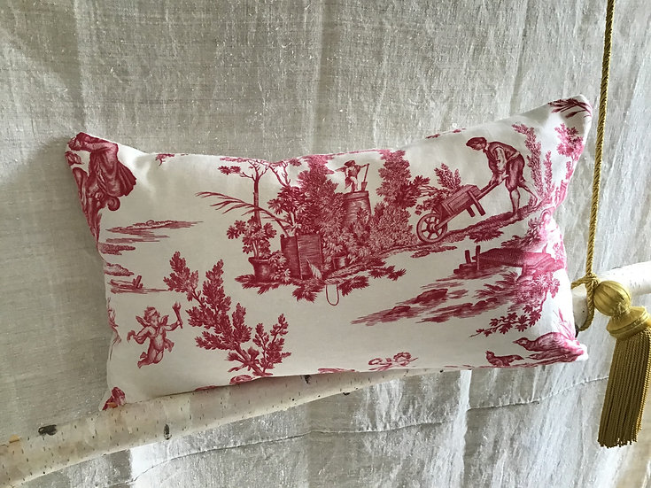 Delightful French Toile de Jouy Fabric Pillow