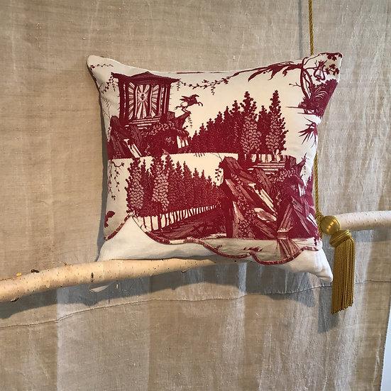 """Stunning RARE Antique French Toile De Nantes Print """"Le Char De L'aurore"""" Pillow"""