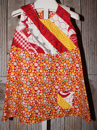 A-line dress, Red/yellow