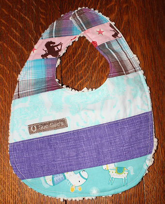 Lavender and turquoise western bib