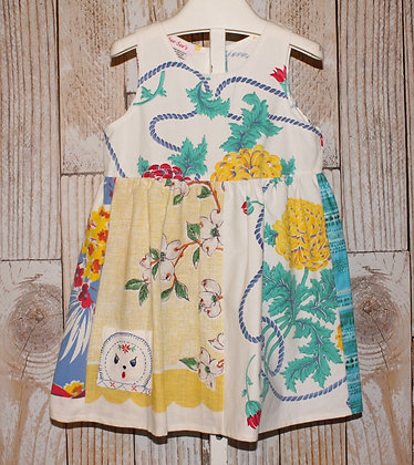 Floral Vintage Tablecloth Dress with rope design