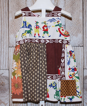 Tyrolean Vintage Tablecloth and Fabric Dress