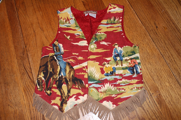 Boy's Western Retro Barkcloth Vest