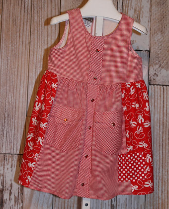 Red checked roper dress