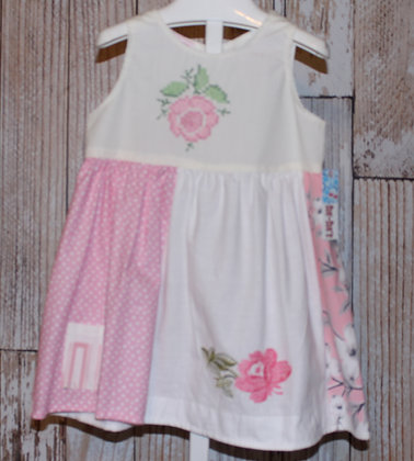 Pink Cross Stitched Roses, Vintage Tablecloth Dress