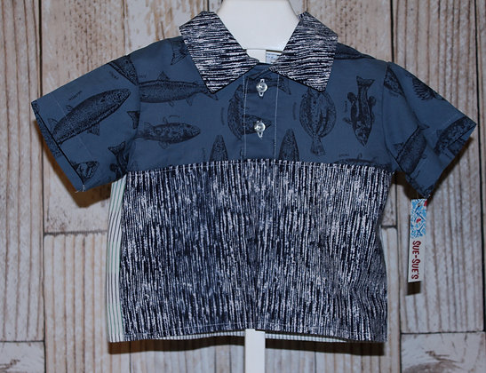 Fish Shirt Vintage fabric, Boy's