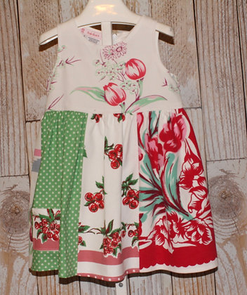 Tulips and Cherries Vintage Fabric Dress