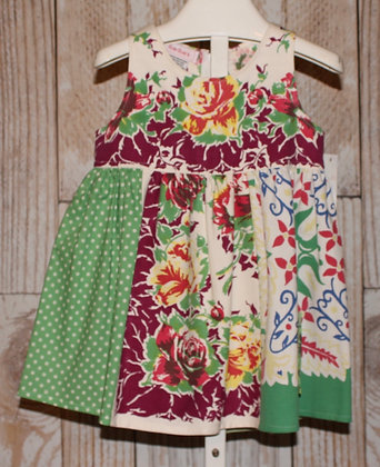 Green, Burgundy and yellow floral Dress