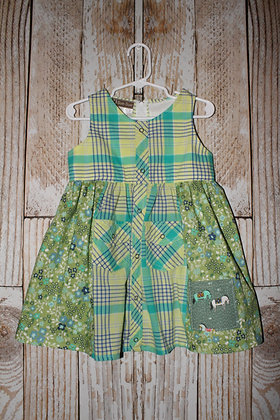 Bright green western dress