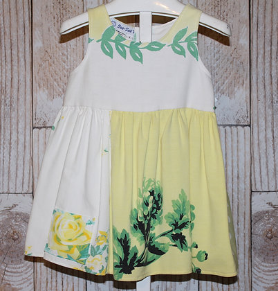 Yellow Roses with Green Leaves Vintage Tablecloth Dress