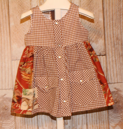 Brown checkered western dress