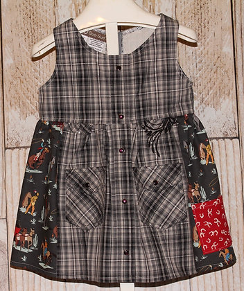 Western Shirt Dress, Black/gray plaid