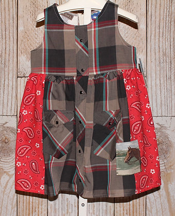 Vintage western shirt dress, brown/red