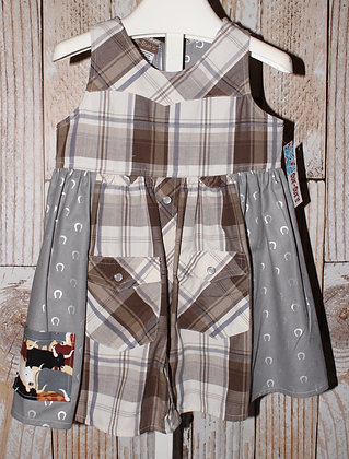 Brown and gray plaid western dress