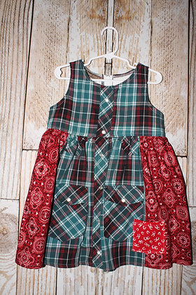 Red and green western dress