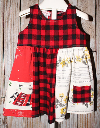 Red/black plaid flannel dress