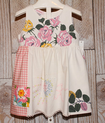 Pastel roses, daisies, ribbon embroidered dress
