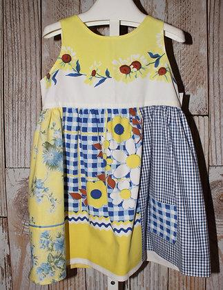 Blue and yellow Daisy Dress