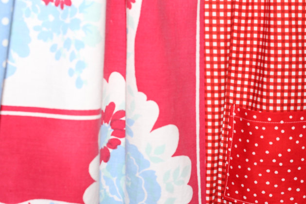 Vintage Tablecloth dress, red/white/blue