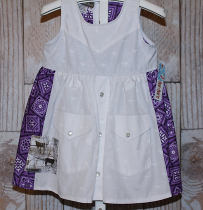 White/Purple Western Vintage Shirt Dress