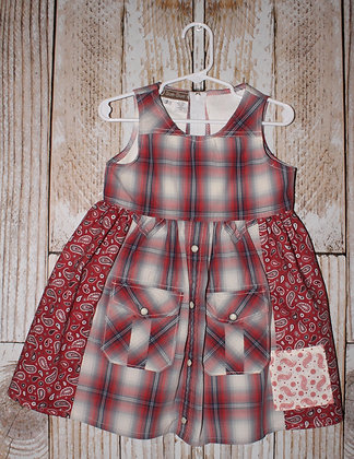 Red plaid and paisley dress