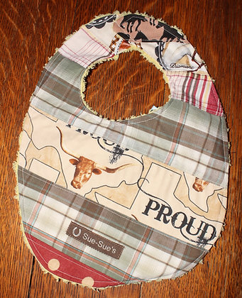 Plaid Texas western bib