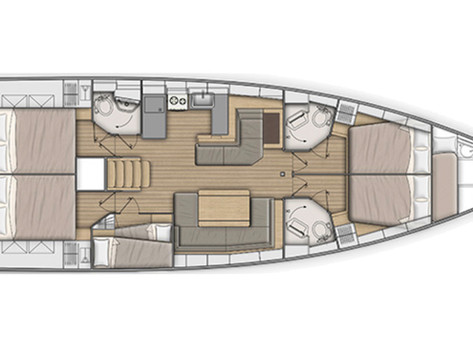 Cavo Yachting _Oceanis 51.1 Charter _ Layout