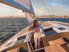Cavo Yachting _ Hanse 588 Charter_ At Sea (Sunset)