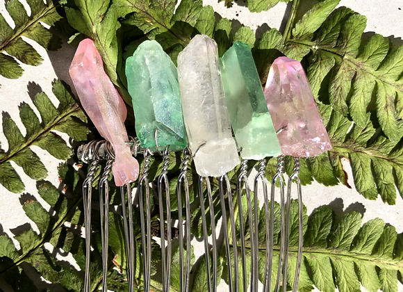 Pink & Green Aura Wire Wrap Comb Pin