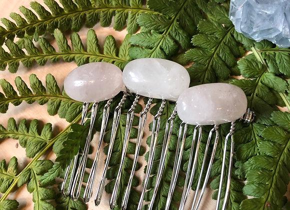 Rose Quartz Wire Wrap Comb Pin