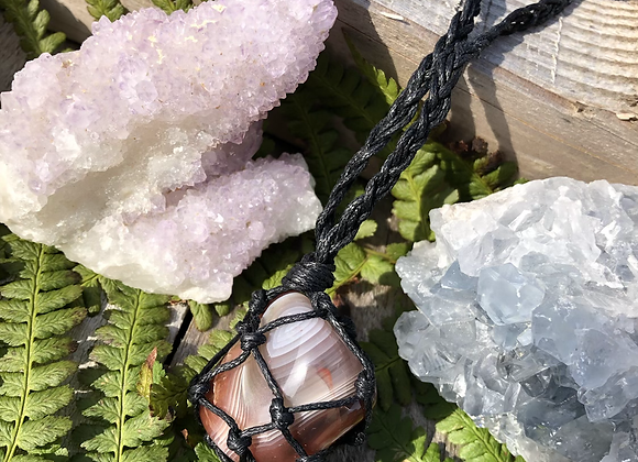 Banded Agate Macrame Necklace