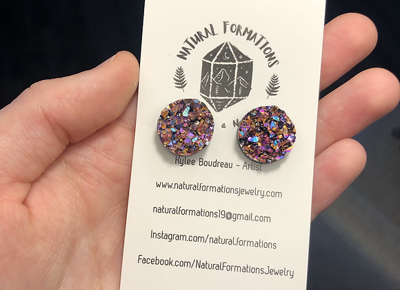 Multicolored Druzy Studs