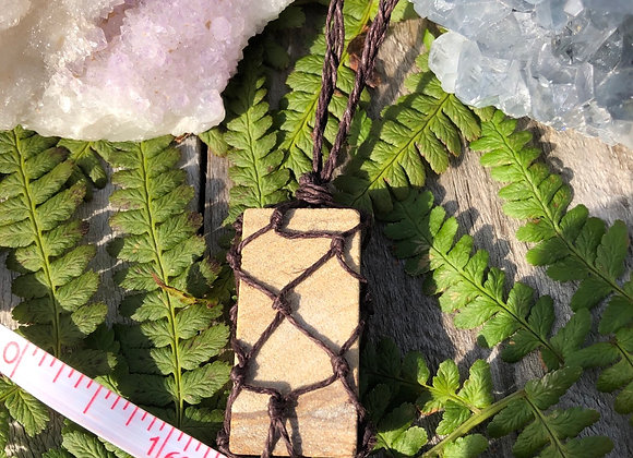 Raw Picture Jasper Macrame Necklace
