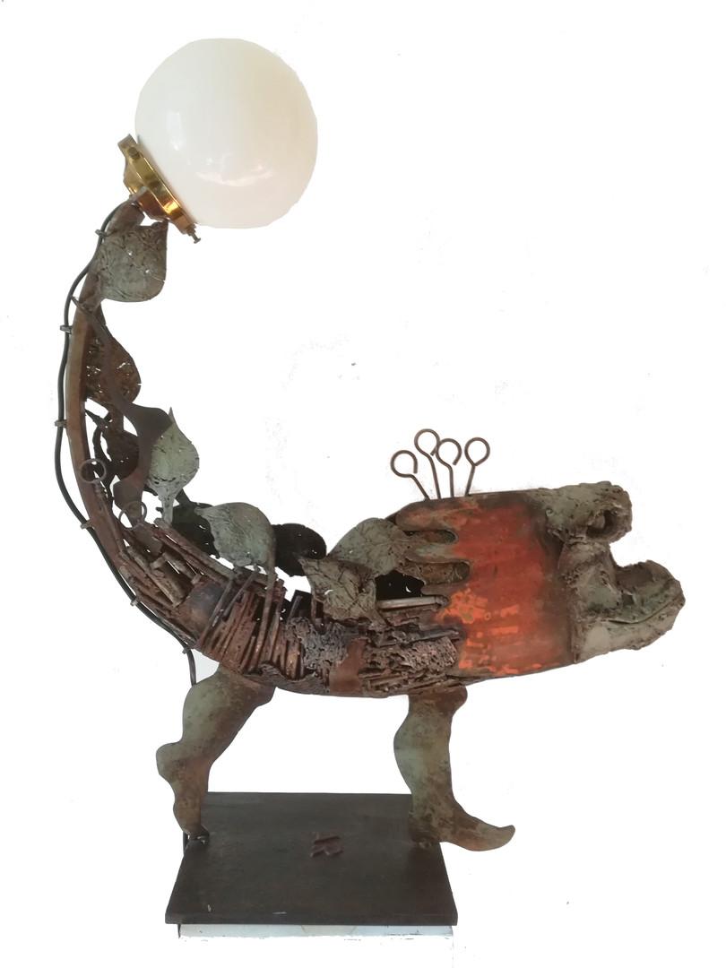 Lampe_King Kong Fish_ métal recyclé et p