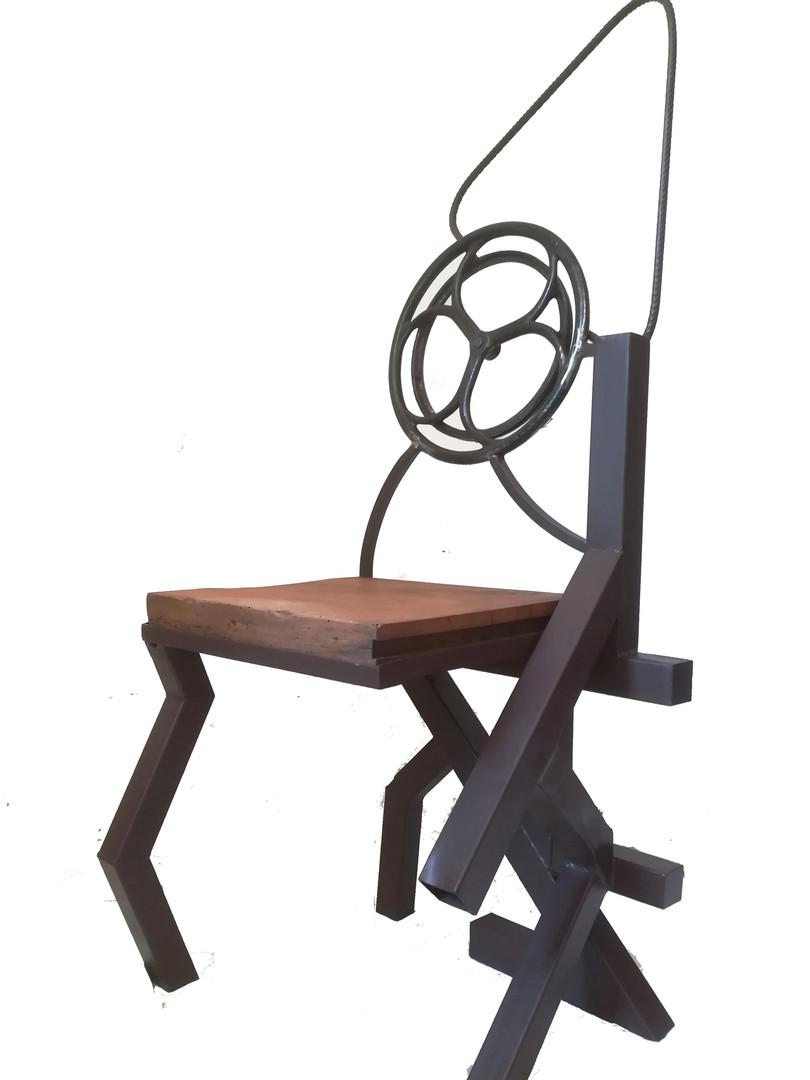 chaise, métal et chêne