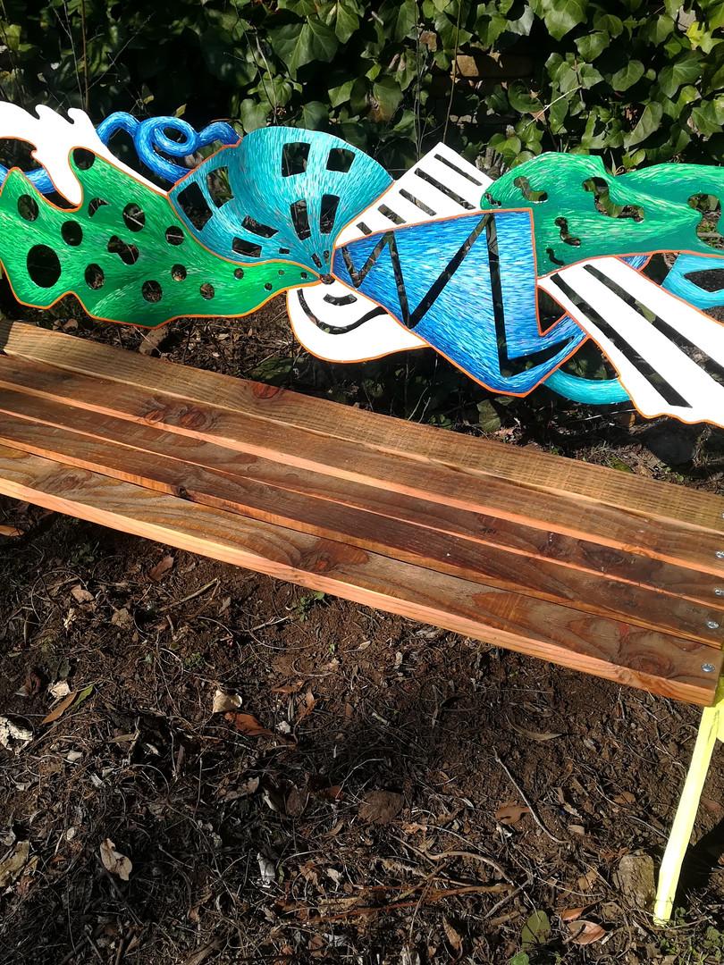 banc, bois, métal, peint carrosserie. travail de commande