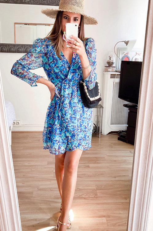 Robe Sophia bleue fleurie