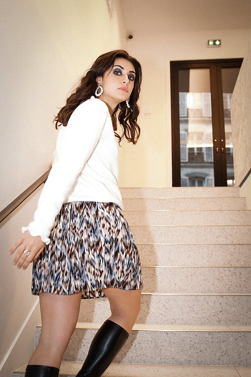 Jupe Claudia bleue/marron