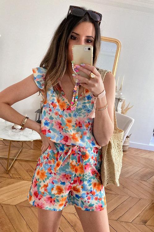 Blouse Lola bleu fleurie