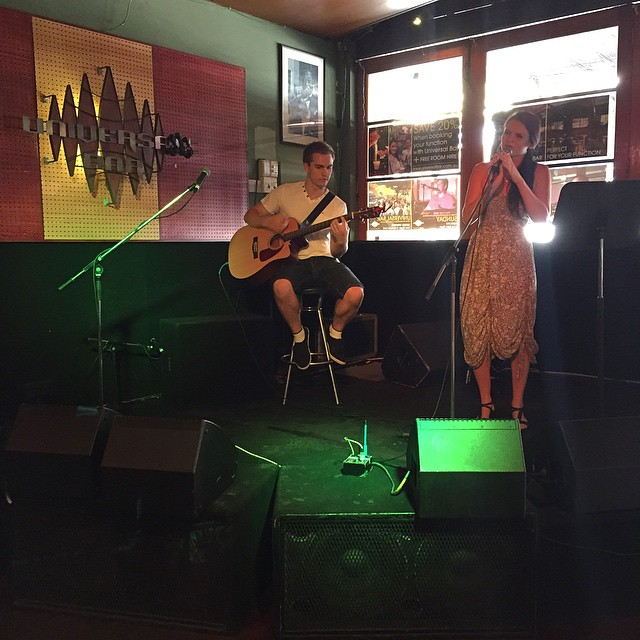 Allie Wright & Chris Buss of Catalyst Acoustic Duo keeping the music going here at Universal Bar